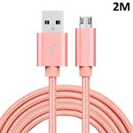 Kvalitet Nylon Micro USB-kabel Rose Gold - 2 meter