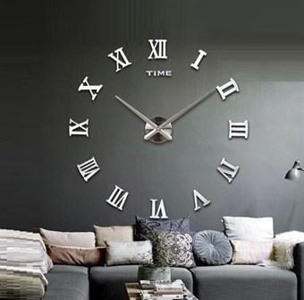 Modern 110x110 cm väggklocka i klassisk stil med romerska siffror - silver f0511acd66