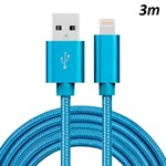 Billiga Nylon Blixt Cable Blue - 3 meter